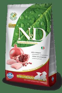 Farmina N&D Grain Free Chicken and Pomegranate Mini and Medium Puppy Packaging